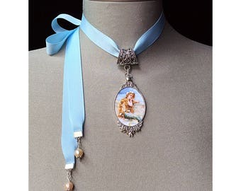 Blue mermaid necklace, silver mermaid pendant, mermaid jewelry, nautical necklace, beach, ocean jewelry, fantasy mermaid cameo, pearl choker