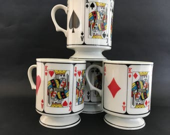 Vintage Playing Cards Footed Mugs Set of 4 Pedestal Cups