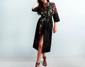 Black  dress with flower print Short sleeves Flower dress Casual dress Summer dress