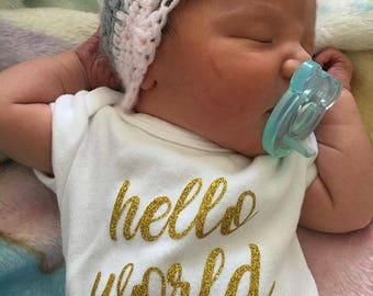 """Newborn """"Hello World"""" Onesie"""