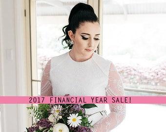 NICOLE // Size 10 // White Lace Long Sleeve Bodice Wedding Dress, 100% Silk Bridal Gown.