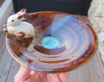 with rabbit lying stoneware dish - Stoneware Dishes