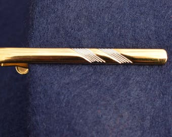 1960s Vintage Tie Clip Gold and Silver Tone