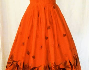 1950's 50s / Hawaiian Togs Dress / Bright Red / Circle Skirt / Tropical Floral Print