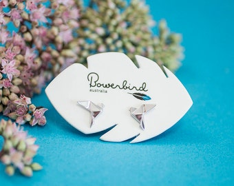 Dove Origami Sterling Silver Stud Earrings