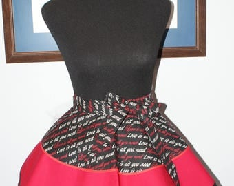 "Hostess Valentine ""Love Is All You Need"" 3 Layer Flounce Half Apron"