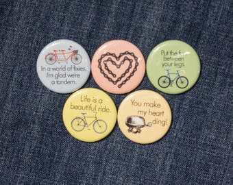 Valentine Cyclist - I love you and Bikes! - Cycling and Love Themed Buttons or Strong Ceramic Magnets