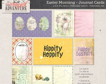 Easter Pocket Cards Printing, Egg Hunt, Hippity Hoppity, Instant Download, Project Life Journal Cards, 3x4, 4x6, Digital Collage Sheet