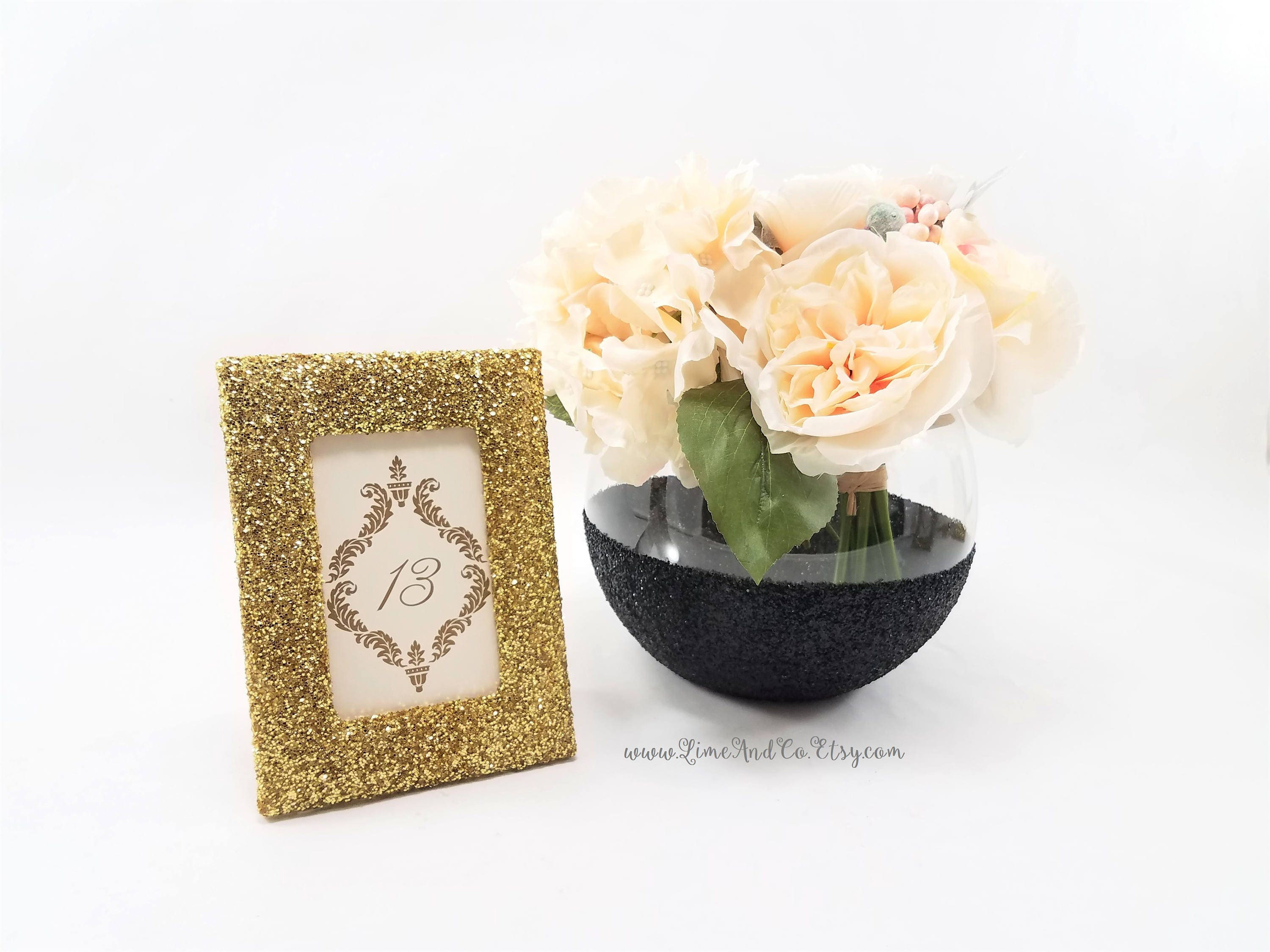 Set of 3 Table Numbers, Table Number Holders Gold, Table Number ...