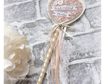 Flower Girl wand glitter fairy wand Handmade personalised wedding keepsake