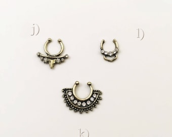 NEW filigree Fake septum tribal brass/silver with crystals