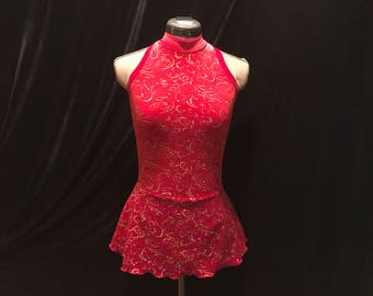 Ruby Red and Gold Ice Figure Skating Competition Dress Girls SMALL, MEDIUM, LARGE and Adult Sm 4 - 6