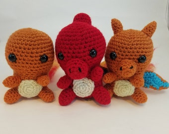 Crochet Charmander, Charmeleon, and Charizard Plush