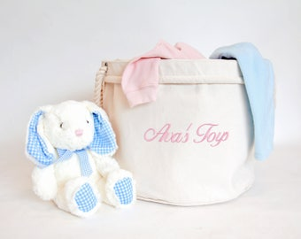 Personalised Children's Toy Basket, Kid's Toys Storage Bag, Toy Bin, Children's Bedroom Organiser, Bedroom Storage