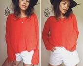 Vintage 90s // OVERSIZED COZY KNIT // Tomato Red Slouchy Simple Sweater // Size S-M