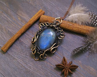 Natural stone Pendant Necklace Gift-for-Sister jewelry Gift-for-wife Ideas-For-her lace necklace Copper Statement Patina Labradorite
