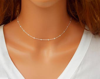 Sterling Silver Chain, Silver Necklace, Sterling Silver Chains, Long Silver Necklace, Satellite chain, Satellite necklace, beaded chain