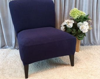 slipcover navy suede chair cover for armless chair slipper chair armless accent chair