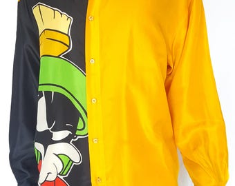 Vintage 1990s Silk Marvin the Martian Long Sleeve Button-Up / Size (L/XL)