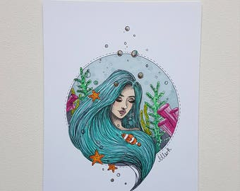 Original Illustration, Under the sea girl