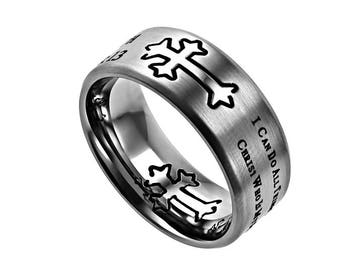 """Silver Neo Ring """"His Strength"""""""
