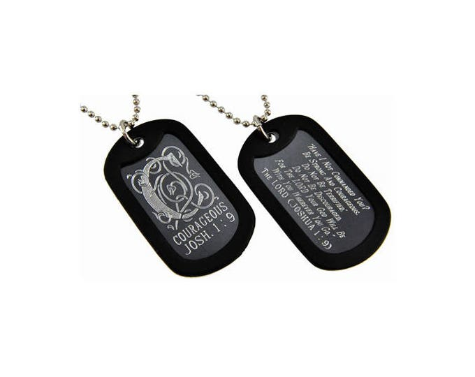 "Dog Tag ""Courageous"" Monogram Double Sided Engraved"