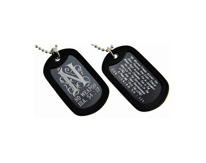 "Dog Tag Necklace  ""No weapon"" Triplegram Double Sided Engraved"