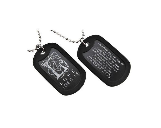 "Dog Tag Necklace ""Love"" Triplegram Double Sided Engraved"