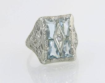 Antique 14K White Gold Flowers 2.00ct Genuine Diamond & Aquamarine Art Deco Ring