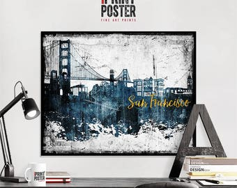 Genial San Francisco Art Print, San Francisco Poster, San Francisco Skyline Art,  Distressed Wall
