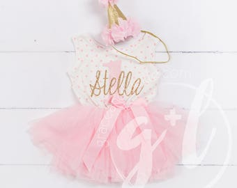 """First Birthday outfit, First Birthday Dress, Pink and gold birthday, 1st birthday dress, polka dot, """"1"""" with monogrammed name"""
