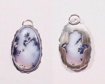 Opal Dendrite Pendant ,Opal pendant , Hamsa pendant , Stone and silver pendant , Fatima's hand pendant