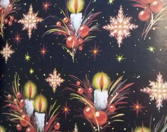 Vintage Christmas Wrapping Paper  ~ scrap booking paper ~ decoupage paper ~ decorative paper ~ Star bursts & Candles design