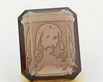 Jesus Christ engraved smoky quartz octagon rectangle 10 x 8 mm