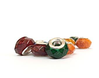 Spray Painted Glass European Beads For European Bracelets 12pcs Big Hole European Charms For Bracelets Large Hole Beads Charms For Bracelets