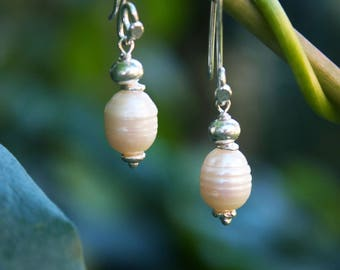 Lovely Freshwater Pearl + Thai Hill Tribe Silver Earrings