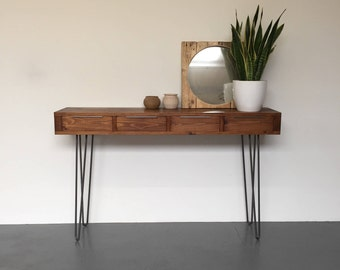 Tall Solid Wood Hall Console Dressing Table With Drawers, on Mid Century Style Metal Hairpin Legs.