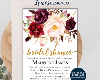 Fall Bridal Shower Invitation, Watercolor Floral Autumn Bridal Shower Invite, Editable Template Card, Wedding Invitation, Blush Gold Floral