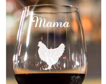 Chicken Lover Gift~ Chicken Farmer Gift~ Chicken Mug~ Chicken Decor~ Crazy Chicken Lady~ Chicken Lady~ Farmer Gift~ Stemless Wine Glass