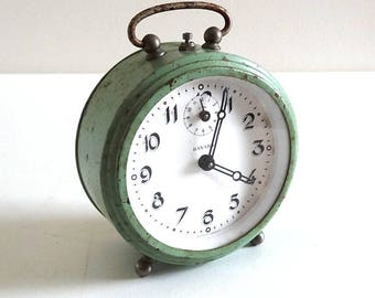 Mid Century French Green BAYARD Alarm Clock - Vintage Collectible Alarm Clock