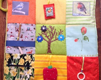 Activity Fidget Quilt - 'Spring is in the Air'   - helpful for persons with dementia or Alzheimer's. Twiddle Blanket - Busy Blanket -