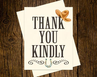 Western Thank You Note Cards Custom Printed Handmade Stationery Set of 12 Vintage Ecru Brown Black Cowboy Hat Horseshoe