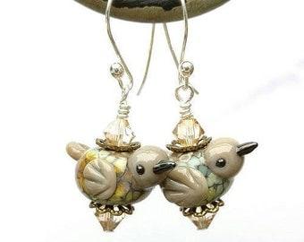 Raku Bird Earrings/Handmade Lampwork Bird Earrings/Rainbow Glass Bird Earrings/Tan Earrings Glass Bird Earrings