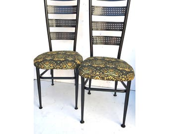Dining Chairs -- Floral Dining Chairs -- Refurbished Chairs -- Black Dining Chairs -- William Morris Floral --
