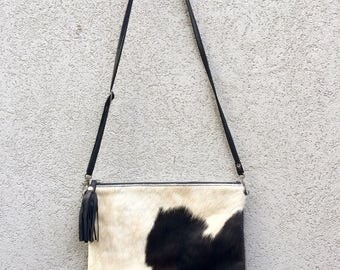 Cowhide Bag, Leather Bag, Crossbody Bag, Cowhide Clutch, Black Clutch Bag, Black Cowhide Clutch, Leather Clutch called Kathryn