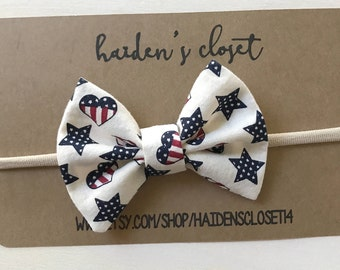 Hair Bow - Spring- Summer - Fourth of July - Free Shipping