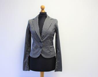 Womens Steampunk  Jacket Brand VERO MODA Dark Gray  Striped blazer Boho Jacket  Small Size
