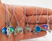 Sitting mermaid necklace, mermaid scale necklace, iridescent mermaid necklace, shimmery mermaid necklace, mermaid jewelry, mermaid gift idea