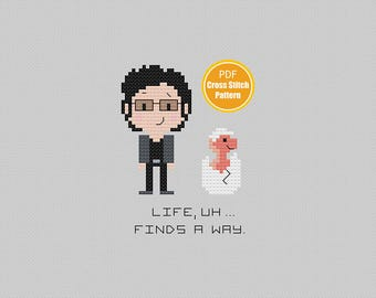 Jurassic Park Cross stitch Pattern - Life Uh finds a Way - PDF Instant Download - Dinosaurs - 90s