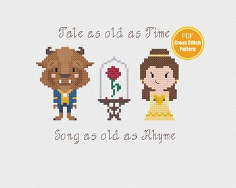 Beauty and the Beast Cross stitch - Tale as Old as Time - Belle - PDF Instant Download - Disney Cross stitch